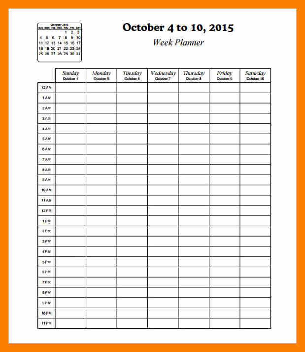 Hourly Calendar Template Template Business