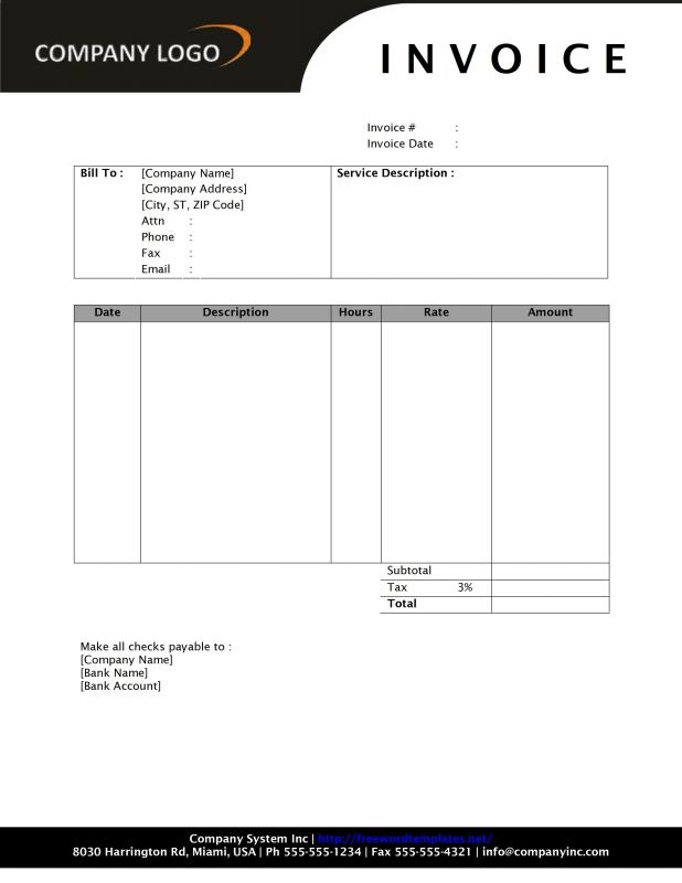 Hourly Invoice Template Template Business