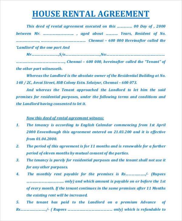 House Rental Agreement Template Business - house rental contract