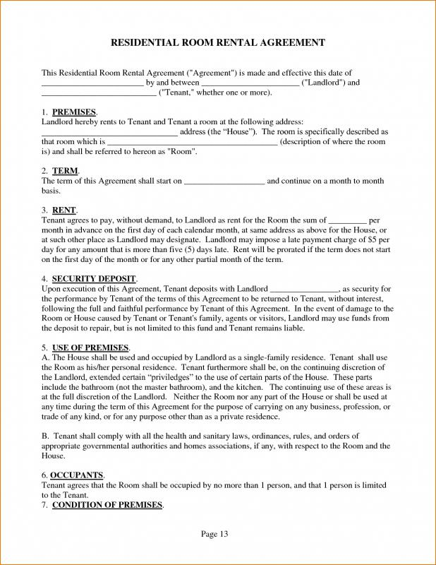 House Rental Contract Template Business