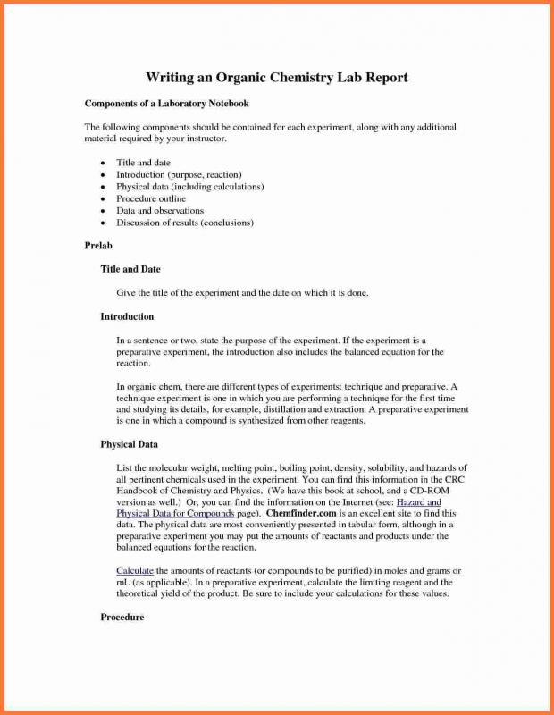 How To Write A Chemistry Lab Report Template Business