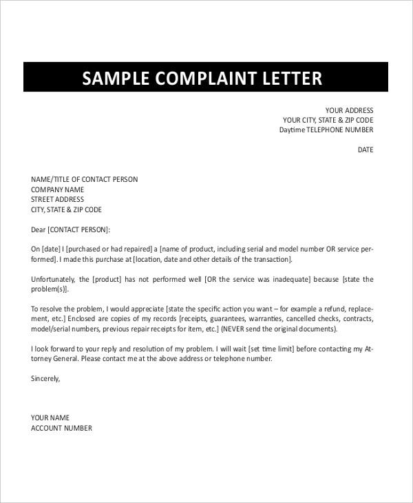 How To Write A Formal Complaint Letter Template Business - Proper Complaint Letter Format