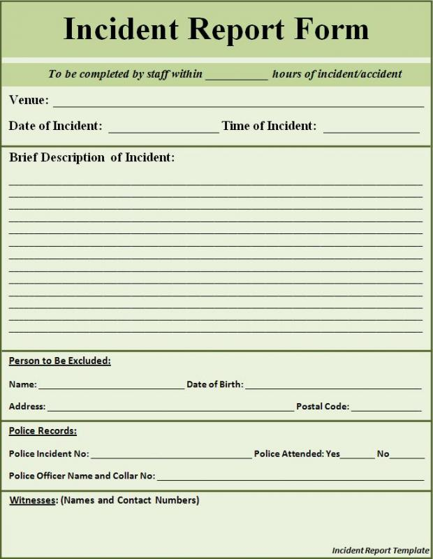 Incident Report Sample Template Business - accident reports template