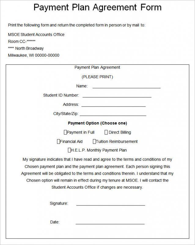 Installment Payment Agreement Template Business