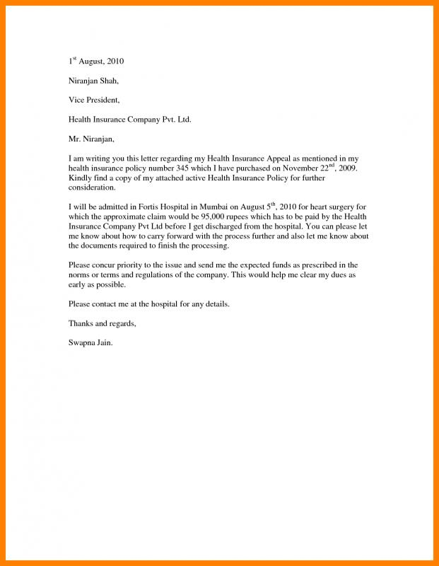 Insurance Appeal Letter Template Business
