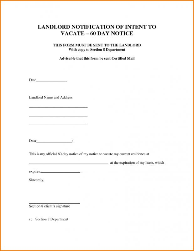 Intent To Vacate Letter Template Business - sample intent to vacate letter