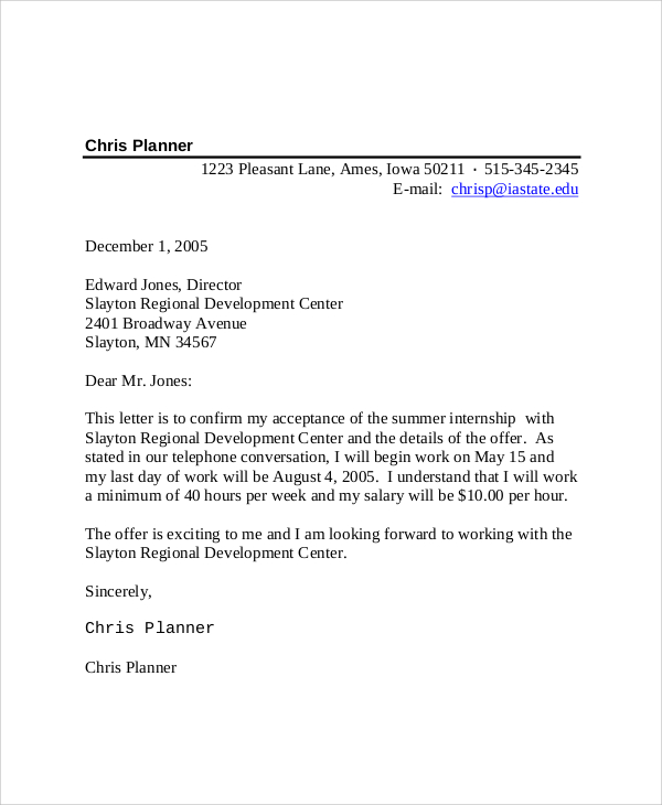 Intern Offer Letter Template Business