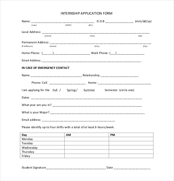 Internship Application Template Template Business - application forms template