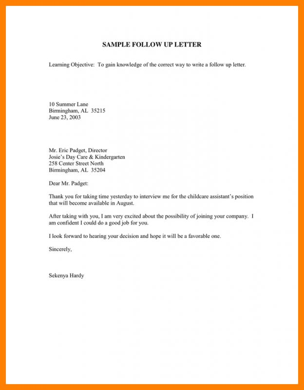 Interview Follow Up Email Template Template Business