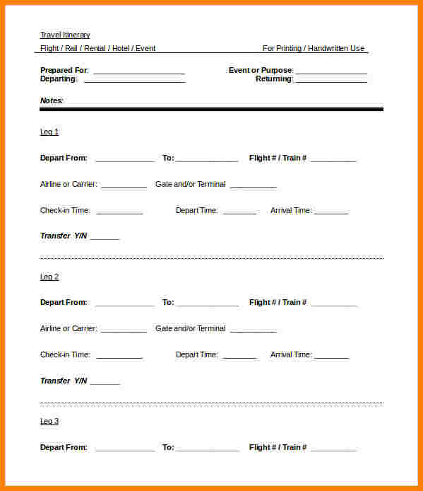 Itinerary Template Word Template Business
