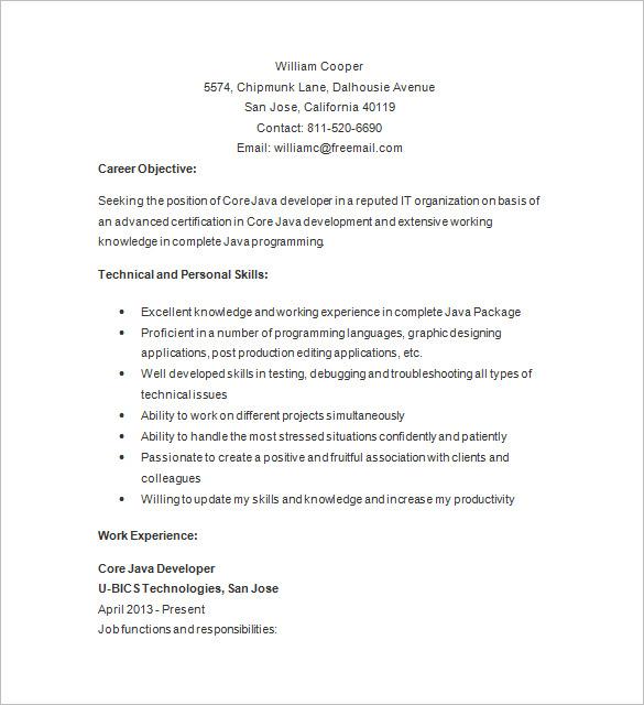 Java Developer Resume Template Business
