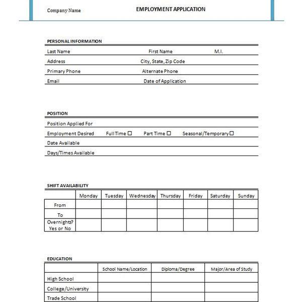 generic employment application template - Akbagreenw