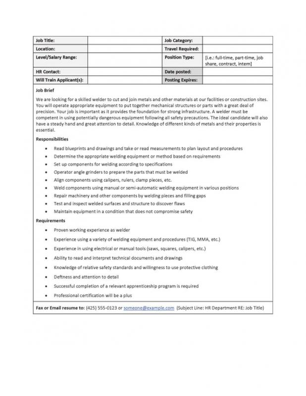 Job Description Templates Template Business