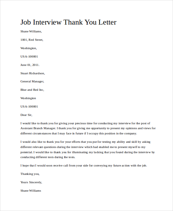 Job Interview Thank You Letter Template Business