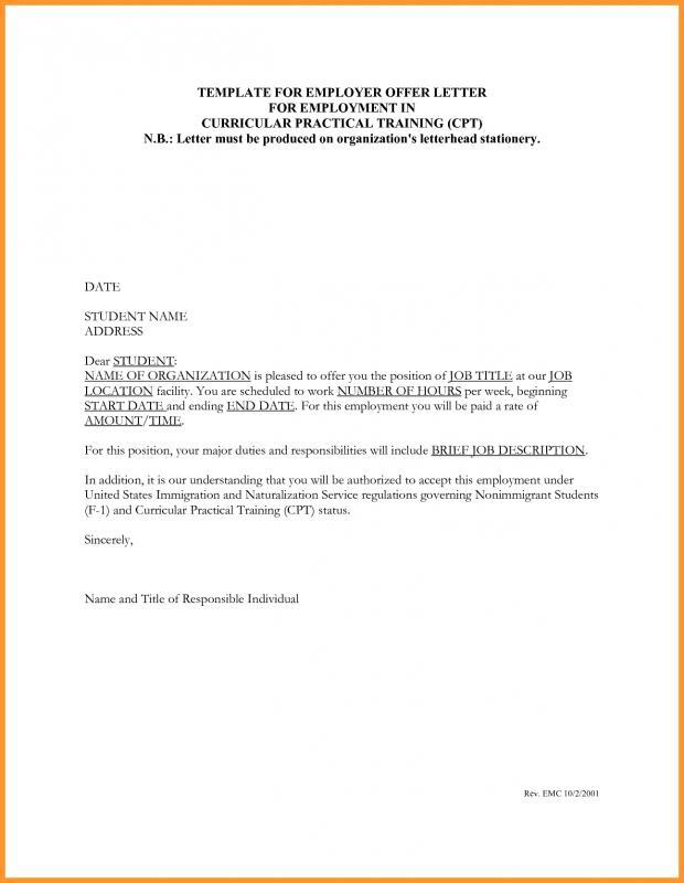 Job Letter Sample Template Business