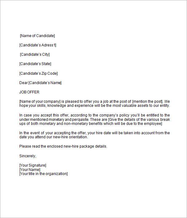 Job Letter Template Work Reference Letter Template Work Letter - job offer letter content