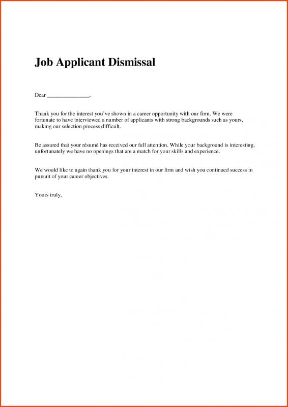 Job Offer Rejection Letter Template Business - Employment Rejection Letter