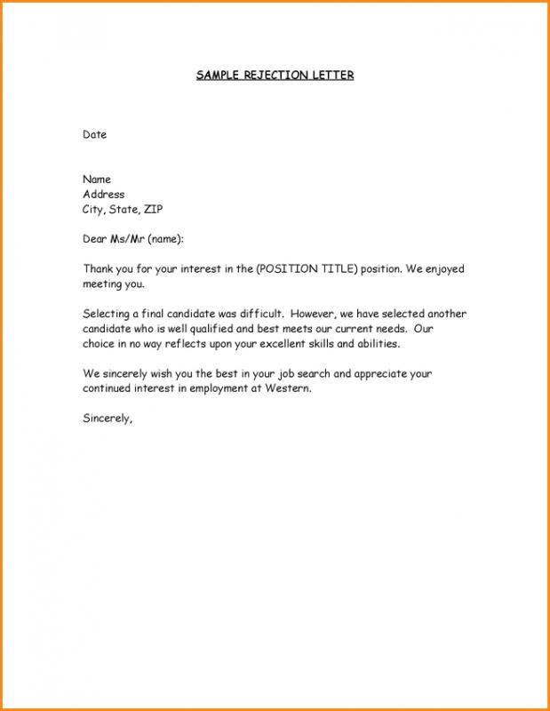 Job Offer Rejection Letter Template Business