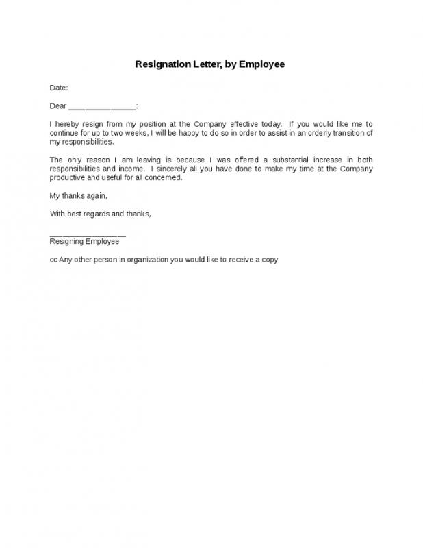 Job Resignation Letter Template Business - a letter of resignation