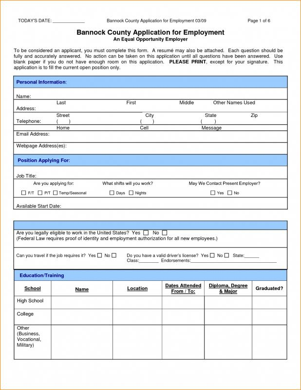 Jobs Application Sample Template Business