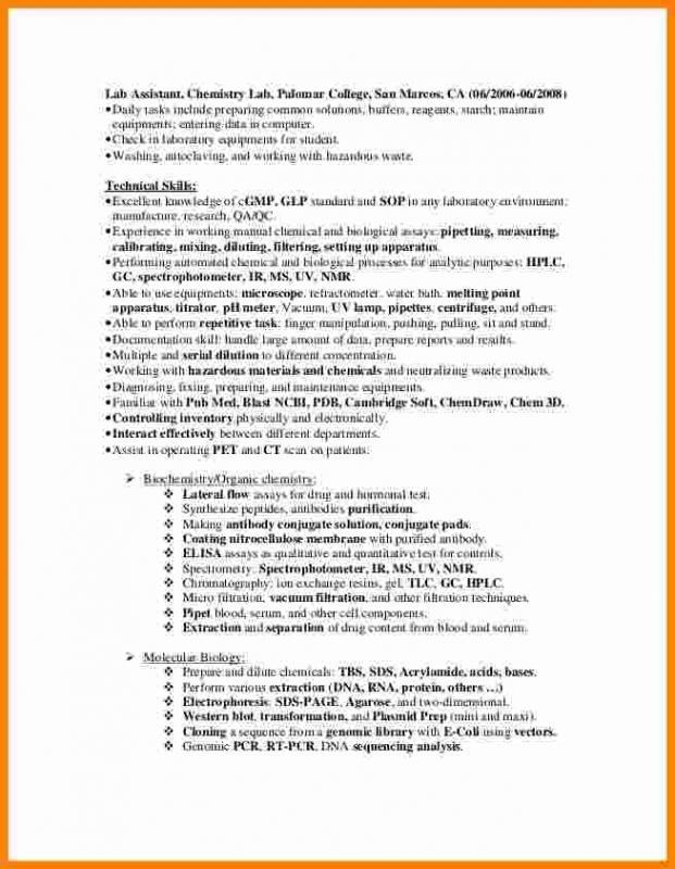 Lab Technician Resume Template Business