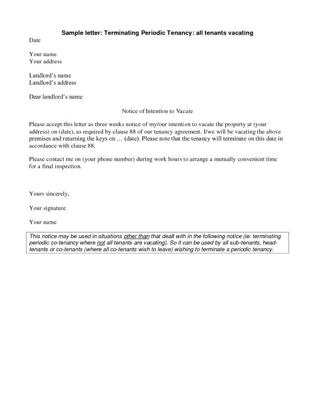 sample notice to vacate - Baskanidai - sample intent to vacate letter