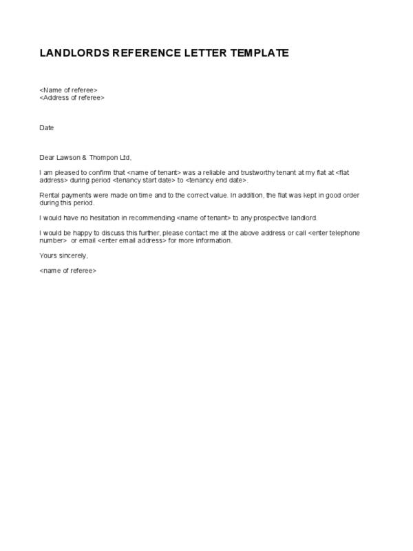 Employment Reference Letter Template For Landlord