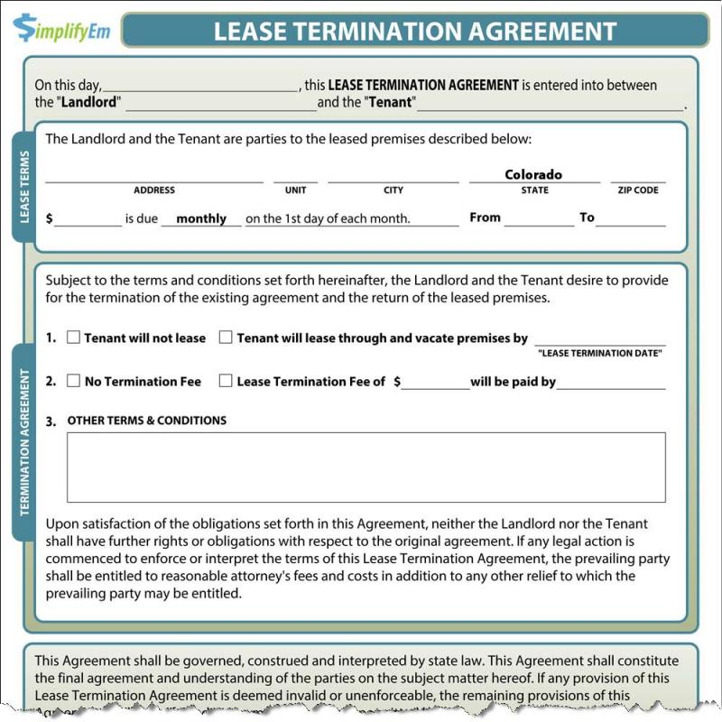 Lease Termination Notice Template Business