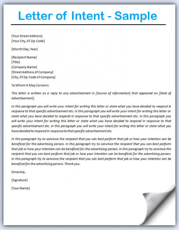 Letter Of Intent Format Template Business