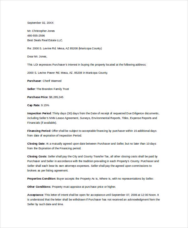 Formal Letter Of Intent oakandale - formal letter of intent