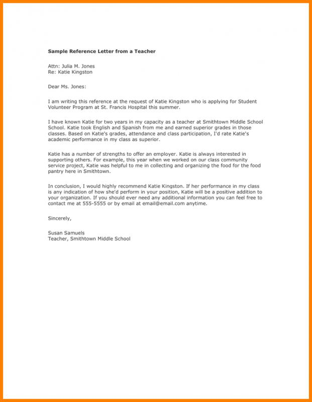Letter Of Recommendation For A Teacher Template Business
