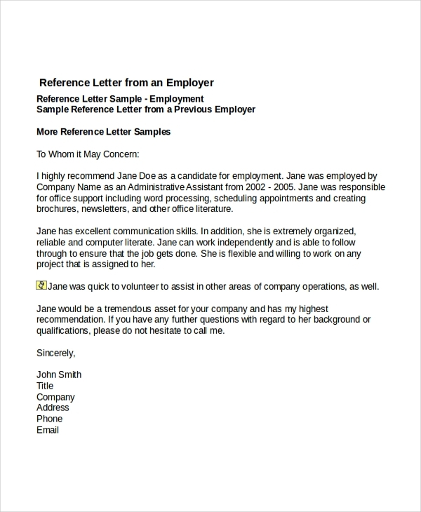 Letter Of Recommendation For Employment Template Business - Letters Of Recommendation Samples