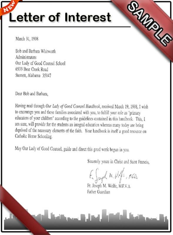 Sample Internship Letter Of Recommendation Choice Image - letter - intern letter of interest