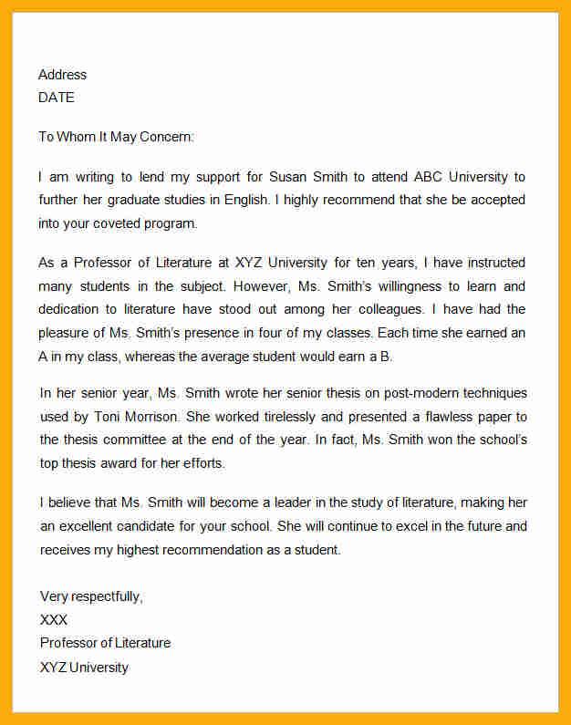 Recommendation Letter For Student Scholarship Sample Image