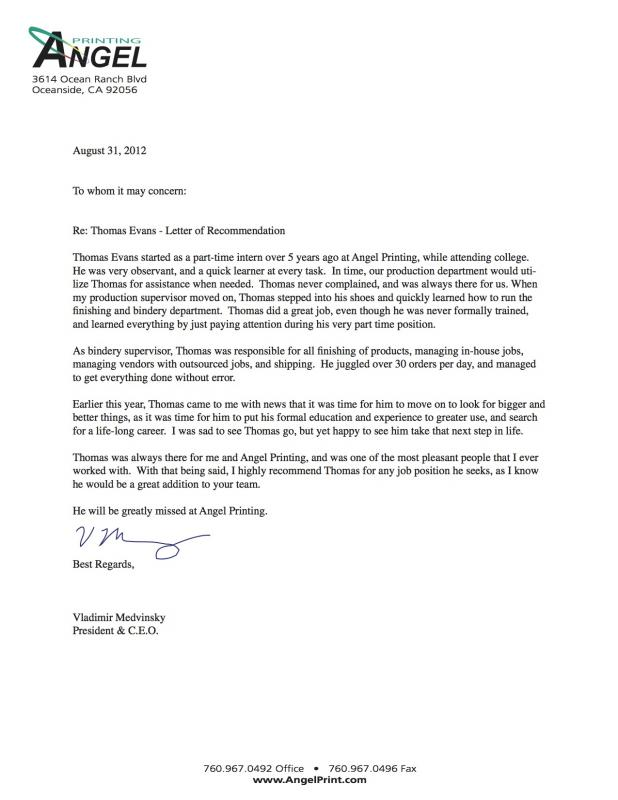 Letter Of Recommendation Format Template Business