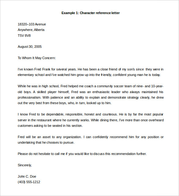 Letter Of Recommendation Template Word Template Business - employment letter of recommendation template