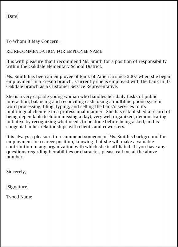 Letter Of Recommendation Template Word Template Business
