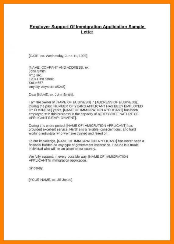 Letter Of Support For Immigration Template Business