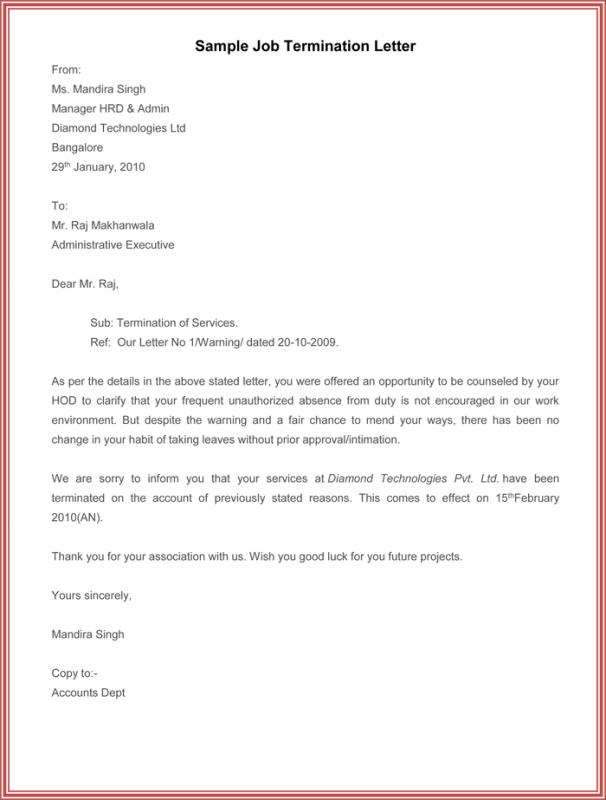Letter Of Termination Of Employment Template Business - job termination letter