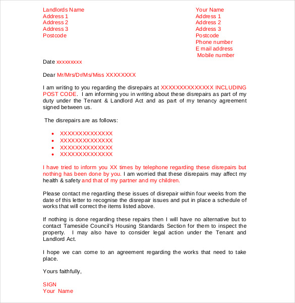 Letter To Landloard Template Business