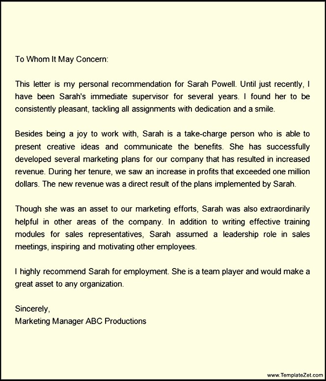 Letters Of Recommendation For A Job Template Business
