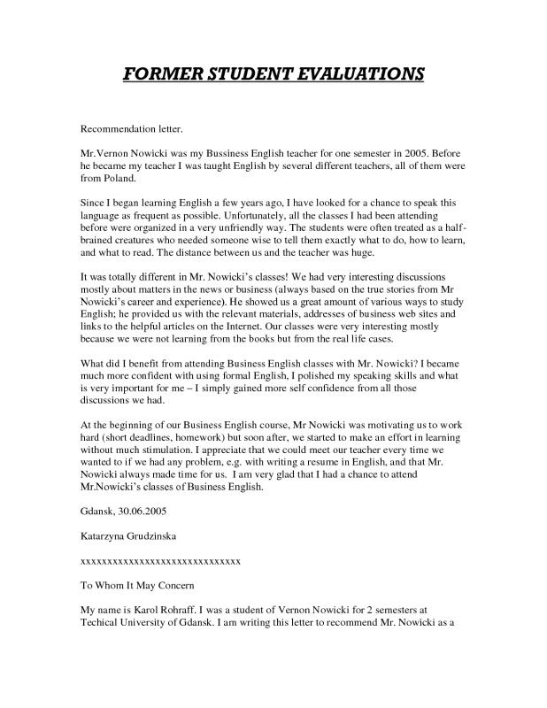 Letters Of Recommendation For Student Teachers Template Business