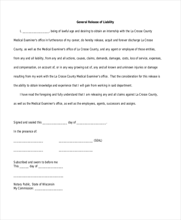 Liability Release Form Template Business