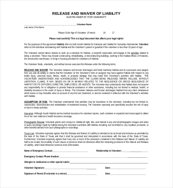 Liability Release Form Liability Release Forms Template Liability