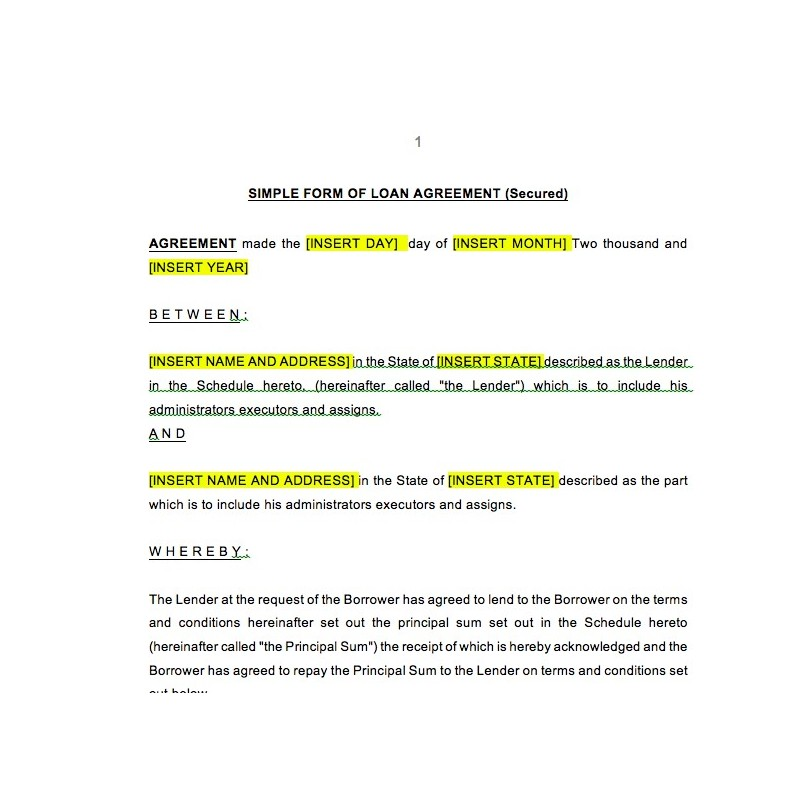 Loan Document Template Template Business - loan documents template