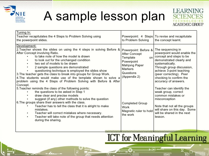 Math Lesson Plan Template Template Business