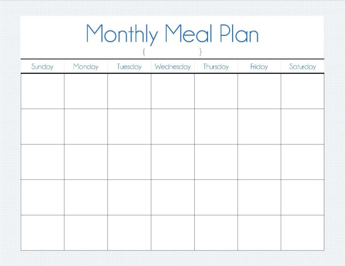 Meal Plan Template Word Template Business