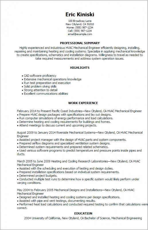 Mechanical Engineering Resume Template Business