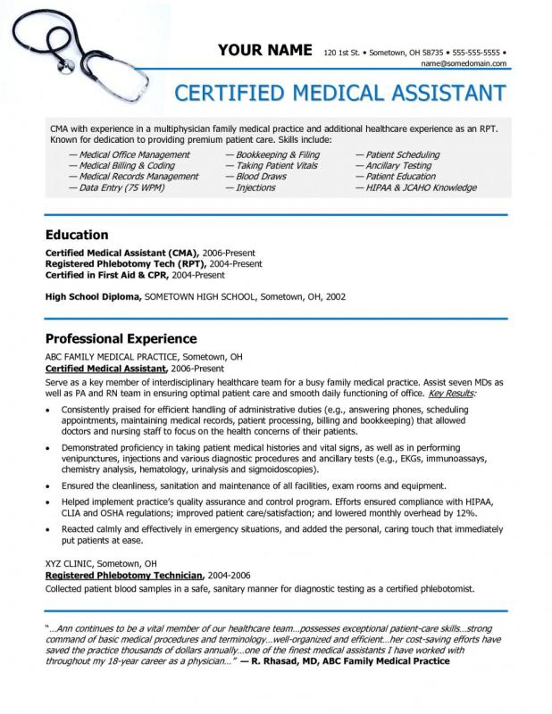 Medical Assistant Resume Example Template Business