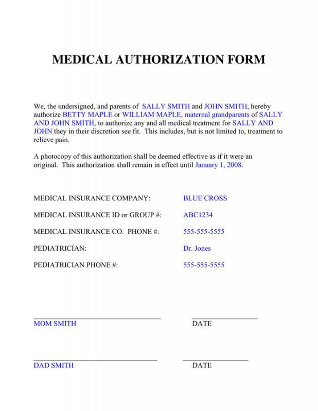 medical authorization form - Ozilalmanoof - medical authorization form template